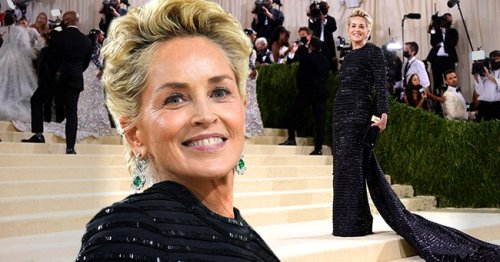 Sharon Stone Stuns at 2021 Met Gala with Thom Browne Outfit Featuring a Glittering Cape
