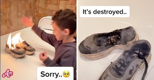Man Makes Little Cousin Sad By Burning His Favorite Shoes on His Birthday