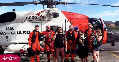3 Friends & 2 Dogs Rescued after Being Swept Out to Sea on a Flamingo Raft during a B-Day Party