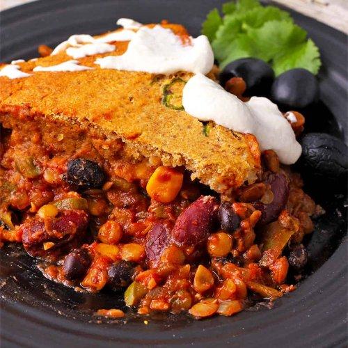 vegan tamale pie recipe with cornbread topping