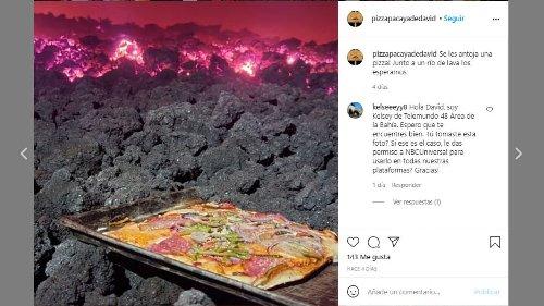 Las increíbles imágenes de un puesto callejero que vende pizza cocinada en un volcán