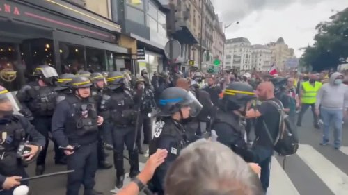 Paris Demonstrators Face Off With Police During COVID-19 Health Pass Protests