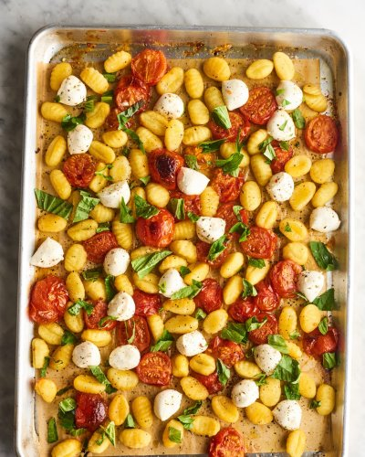 "Caprese Sheet Pan Gnocchi Is the Best, Easiest Answer to ""What's for Dinner"""