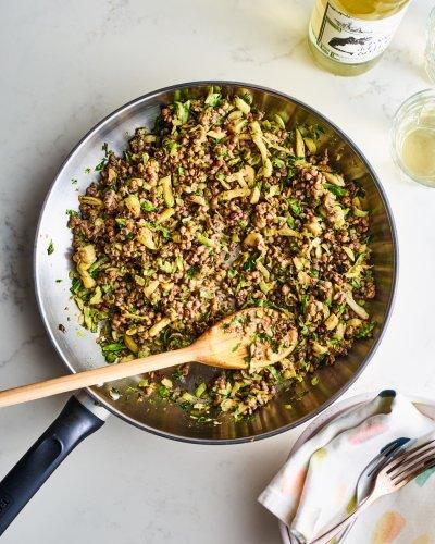 Warm Sesame Brussels Sprouts and Lentil Salad