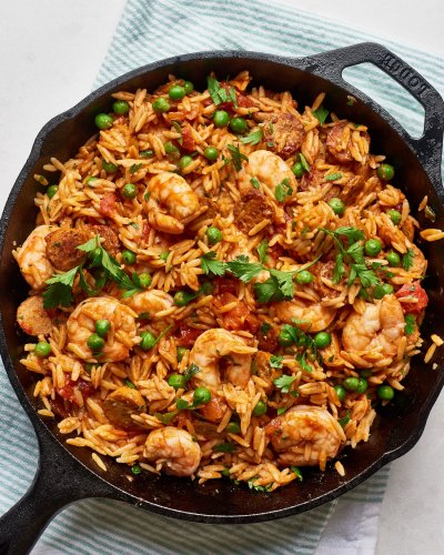 Weeknight Orzo Paella Is Delicious, Filling, and Cheap