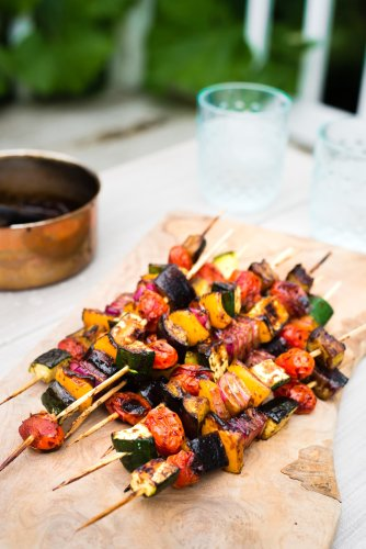 You'll Want to Make These Balsamic Glazed Veggie Kebabs All Summer