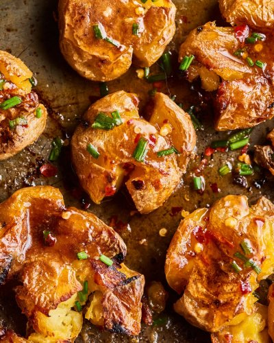 Spicy-Sweet Hot Honey Butter Smashed Potatoes Hit All the Right Notes