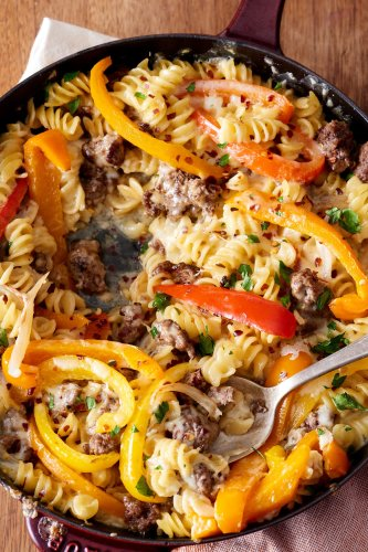 Philly Cheesesteak Pasta Is Everything You Love About the Sandwich in a Skillet