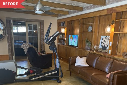 Before and After: This Living Room Redo Shows How to Make Knotty Wood Paneling Look Chic