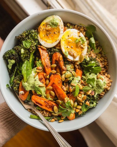 Farro with Caramelized Carrots, Crispy Broccolini, and Herby Yogurt Dressing
