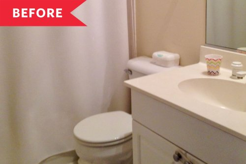 Before and After: A Plain '90s Family Bathroom Gets a No-Reno Transformation for $650