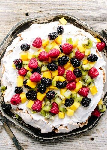 Cinnamon-Hazelnut Pavlova with Coconut Cream Is a Showstopper Dessert
