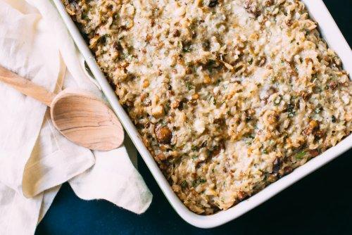 Cheesy Lentil, Mushroom & Rice Bake