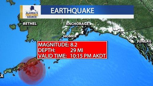 8.2 magnitude quake in Southwest Alaska generates small tsunami