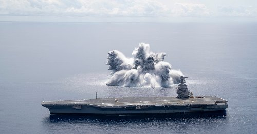 US Navy conducts first of three blasts in carrier Gerald R. Ford shock trials