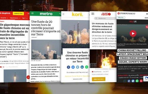 """Fusée chinoise """"hors de contrôle"""" : les médias frissonnent"""