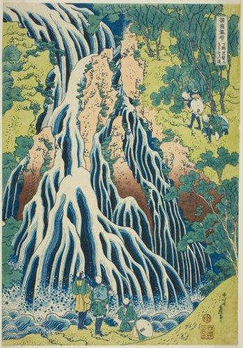 "Kirifuri Falls at Mount Kurokami in Shimotsuke Province (Shimotsuke Kurokamiyama Kirifuri no taki), from the series ""A Tour of Waterfalls in Various Provinces (Shokoku taki meguri)"" | The Art Institute of Chicago"