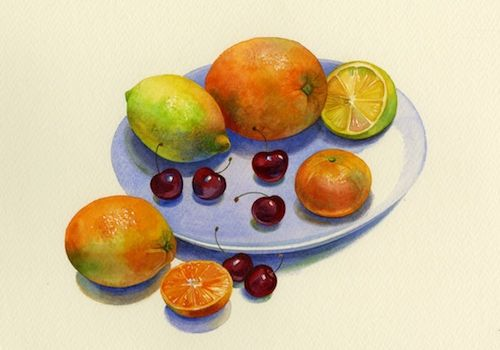 How to paint fruit in watercolour