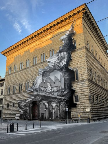 Artist JR Has Symbolically 'Reopened' a Shuttered Florence Museum With a Photocollage of Its Interior on the Facade