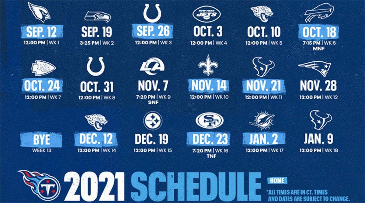Tennessee Titans Schedule 2021