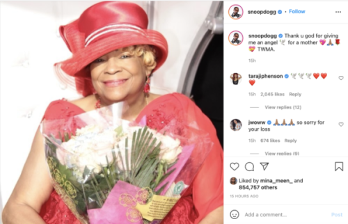 'An Angel for a Mother': Snoop Dogg Mourns the Loss of His Mother with Heartfelt Post on Social Media