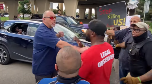 'He Wasn't Arrested. He Wasn't Shot.': Texas Cop Lets Angry White Man Yelling, Swinging at Black Protesters Demonstrating Over Death of Marvin Scott III Leave Scene Unscathed