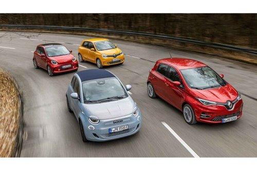Fiat 500C e und drei E-Kleinwagen: Vier Zwerge unter Strom