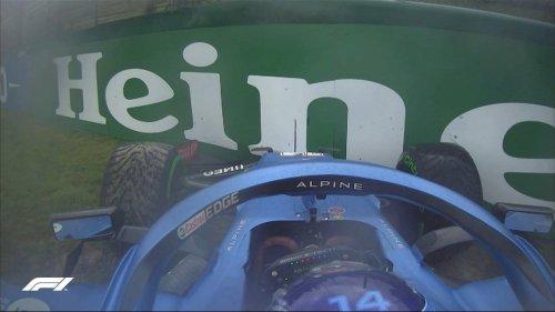 El susto de Alonso en Imola: Se sale de pista y choca