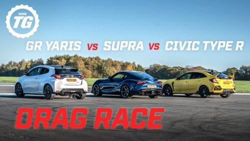 Vídeo: Toyota GR Yaris, Toyota Supra y Honda Civic Type R, ¿quién es el rey de esta drag race?