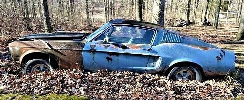 Rare 1968 Ford Mustang Cobra Jet Was Abandoned in the Forest, You Can Save it