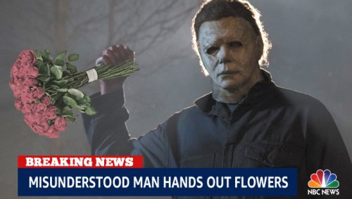 NBC News Edits Footage Of Michael Myers To Make It Look Like He's Just Handing Flowers To The Townspeople