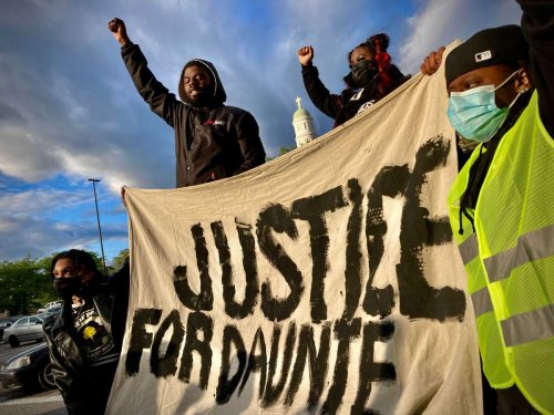 'It's trauma ... that we're fighting': Protesters gather in Baltimore to condemn police violence after killing of Daunte Wright