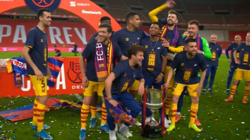 """Pique jokingly moves Dembele out of La Masia picture: """"Get out of here, you costed us too much"""""""