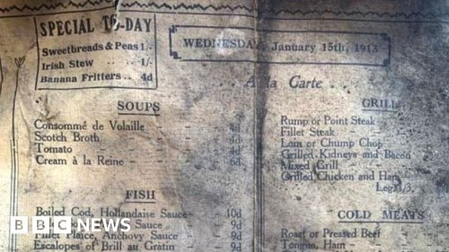 Liverpool cafe finds menu from 1913 during refurb