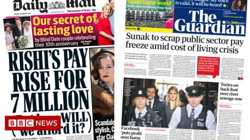 Newspaper headlines: End to pay freeze and Facebook 'in the dock'