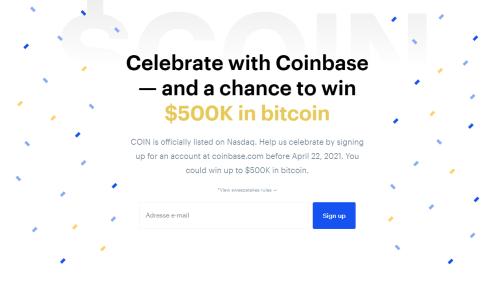 Bitcoin : après la bourse, Coinbase organise un jeu concours de 500 000 dollars