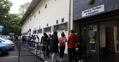 Festival fans queue in Belfast for 'Vaccines for Tickets' initiative