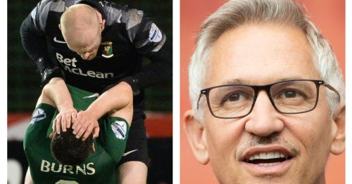 Gary Lineker reacts to Glentoran goalkeeper's shocking red card