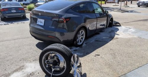 Video: Tesla Model Y Driver Rips Off Front Wheel in Accident, Blames Unintended Acceleration