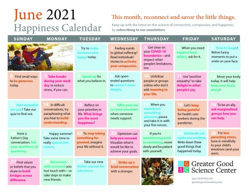 Your Happiness Calendar for June 2021