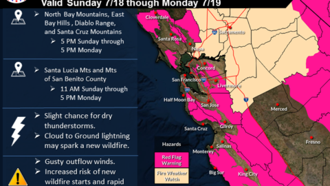 Red flag warning issued for Berkeley Hills, with 'slight' chance of lightning