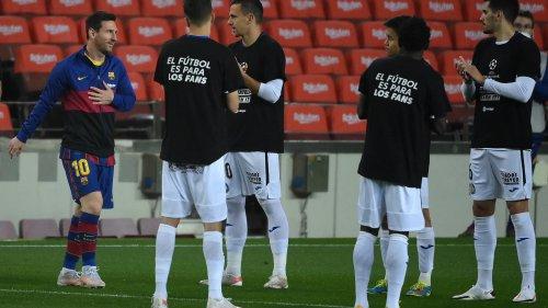 Les joueurs de Getafe font une haie d'honneur au Barça avec des messages contre la Super League