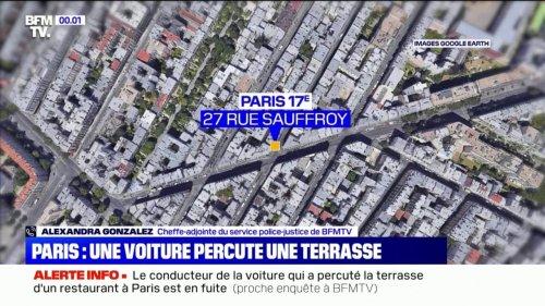Paris: une voiture a percuté la terrasse d'un bar-restaurant du 17ème arrondissement, faisant plusieurs blessés