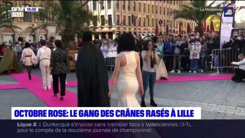 Octobre rose: des femmes atteintes du cancer du sein défilent à Lille