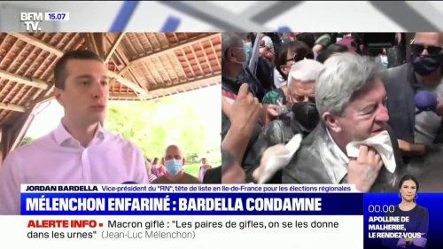 """Jean-Luc Mélenchon enfariné: Jordan Bardella condamne toute """"attaque physique contre des élus"""""""