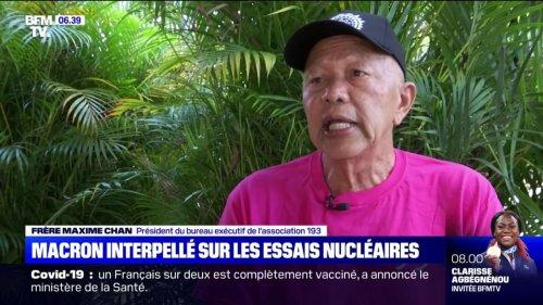 """""""Il y a un problème ici"""": un militant antinucléaire interpelle Emmanuel Macron en Polynésie"""