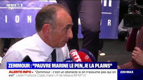"""Éric Zemmour à propos de Marine Le Pen: """"C'est une femme de gauche, elle est en décalage avec son électorat"""""""