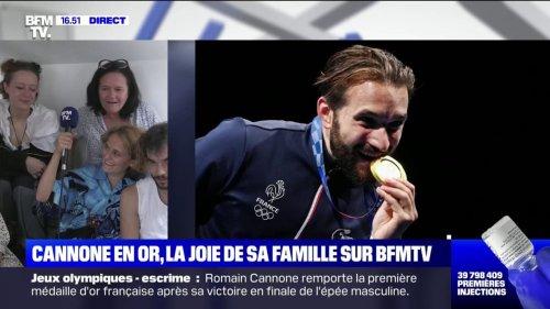La joie de la famille de Romain Cannone sur BFMTV après sa première médaille d'or aux JO