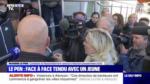 """""""Il faut arrêter de raconter des histoires"""": Face à face tendu entre un jeune et Marine Le Pen, en déplacement à Alençon"""