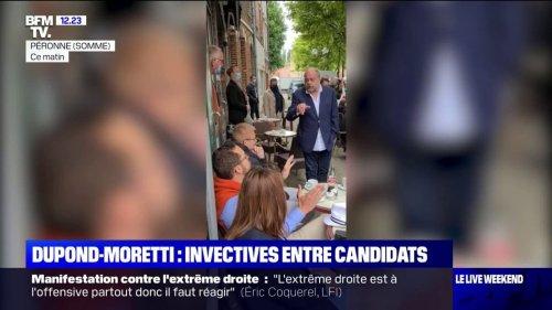 Vif échange entre Éric Dupond-Moretti et Damien Rieu, candidat RN aux départementales, sur une terrasse de Péronne